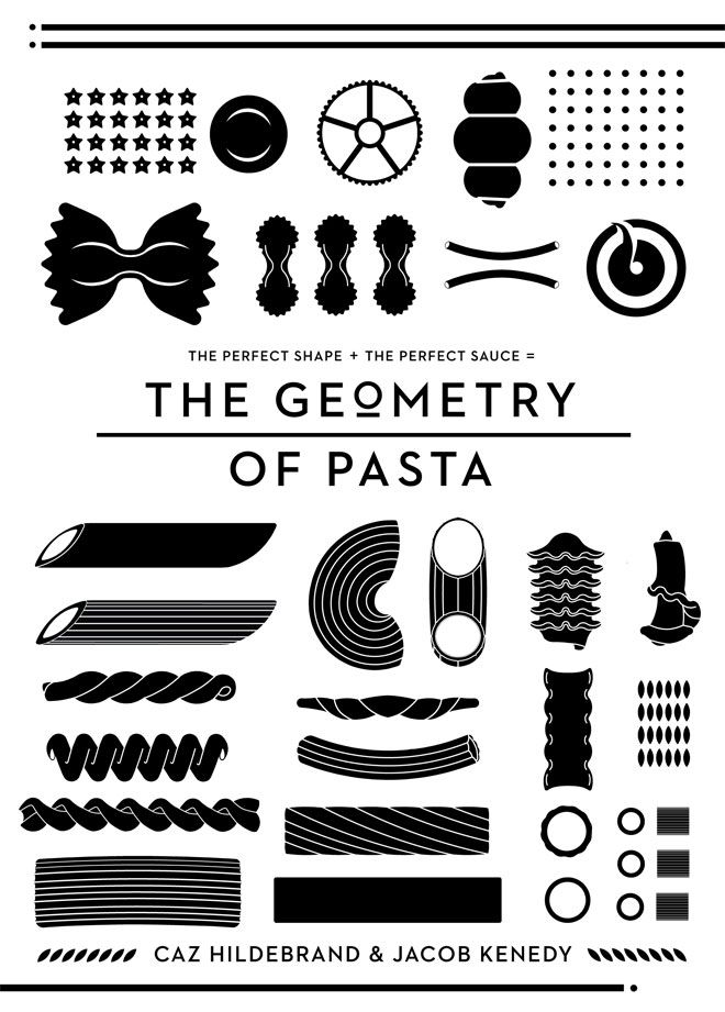 "Book cover for ""the Geometry of Pasta"" by Caz Hilderbrand & Jacob Kenedy"