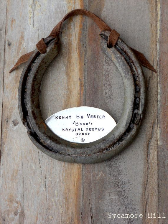 The Stall Name Plate Upcycled Horseshoe for Horse Stalls. Barn  or Stable  CUSTOM - Handmade Original by Sycamore Hill