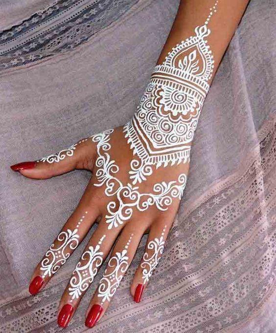 White Wedding Dress With Henna: Best White Henna Designs For Hands 2019