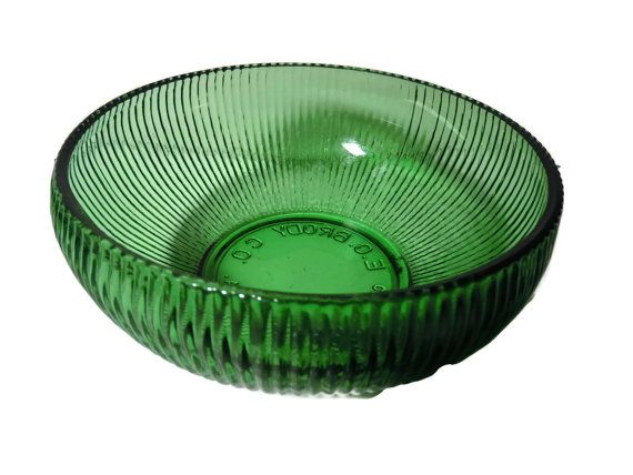Vintage E O Brody Ribbed Green Glass Bowl by SandysLeaf on Etsy
