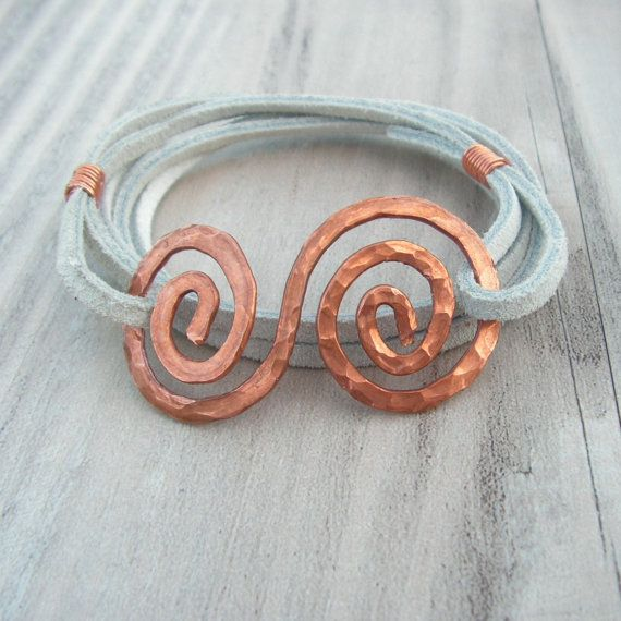 Leather+Wrap+Bracelet+White+Suede+Hammered+Copper+by+GypsyIntent,+$28.00