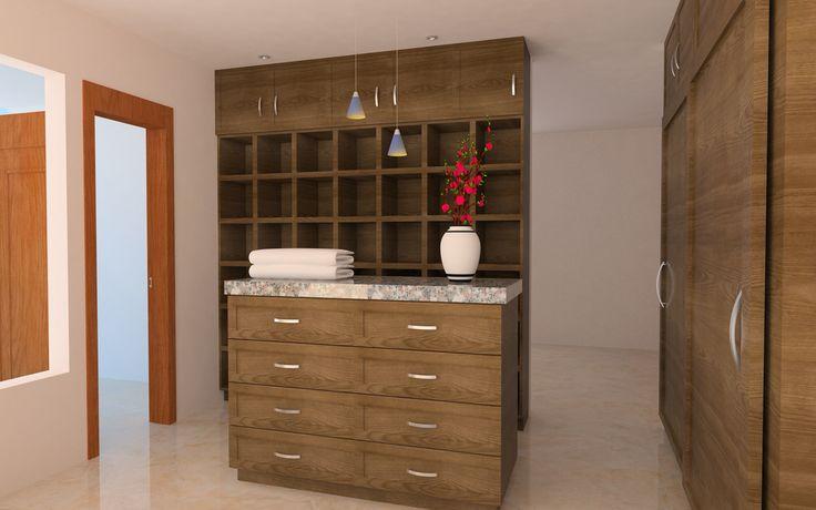 Diseño de vestidor de remodelación de casa de interés social.