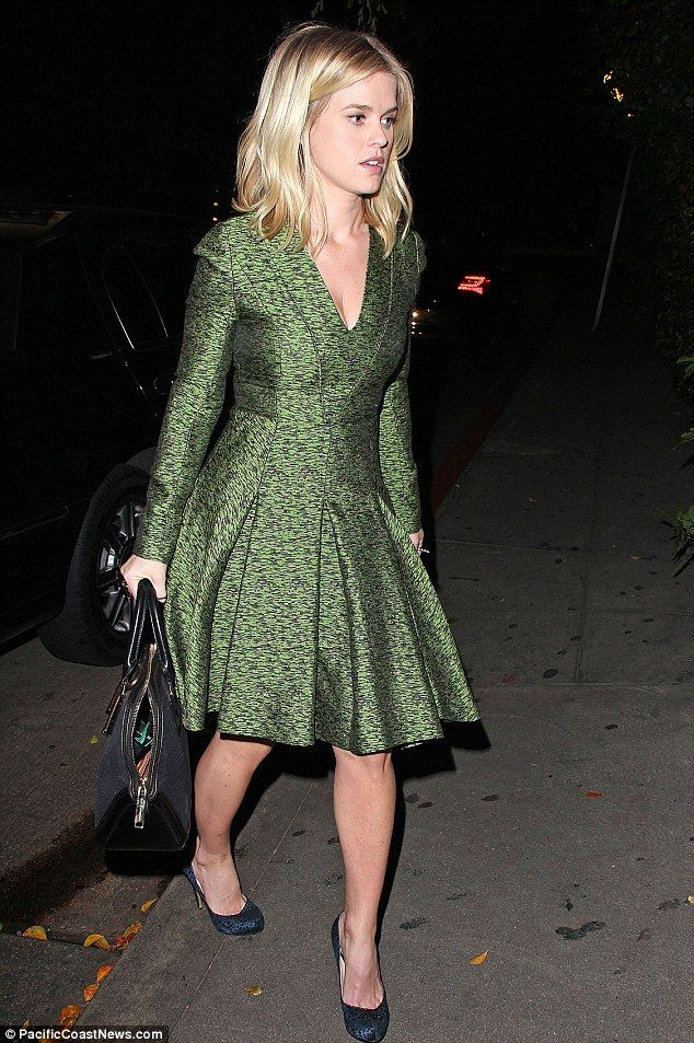 Pretty in green: Alice Eve made her way to Hollywood's Chateau Marmont on Tuesday evening looking stylish in a green dress