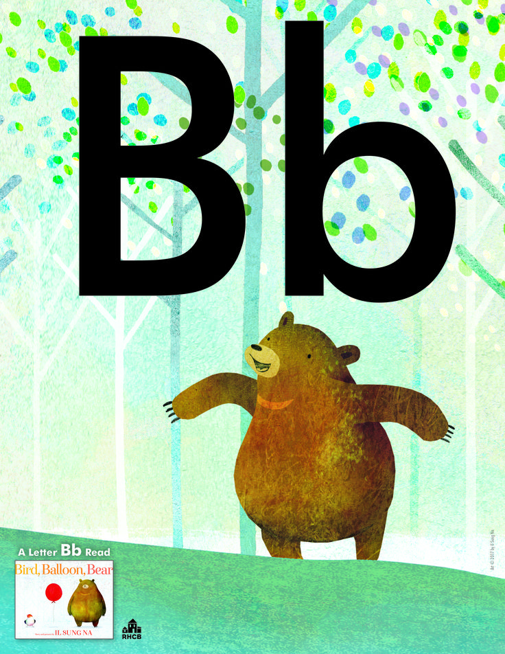Letter Bb Card - print out and use to start a bulletin board display or letter collage.  A Beautiful Letter Bb read is BIRD. BALLOON. BEAR.