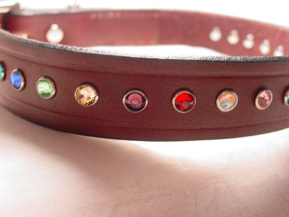 Hand Decorated Leather Dog Collar with Multicolored Crystals by frisado. Explore more products on http://frisado.etsy.com