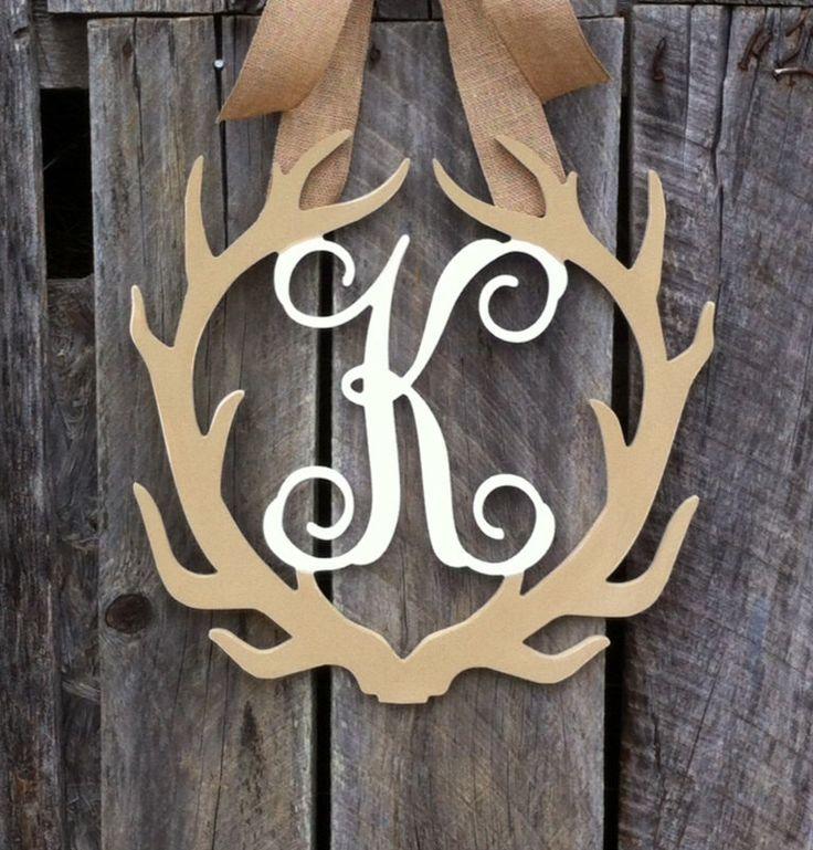 Monogram door hanger deer antler wreath hunting rustic decor gift for him & 354 best Door Hangers images on Pinterest   Wooden doors Wooden ... pezcame.com