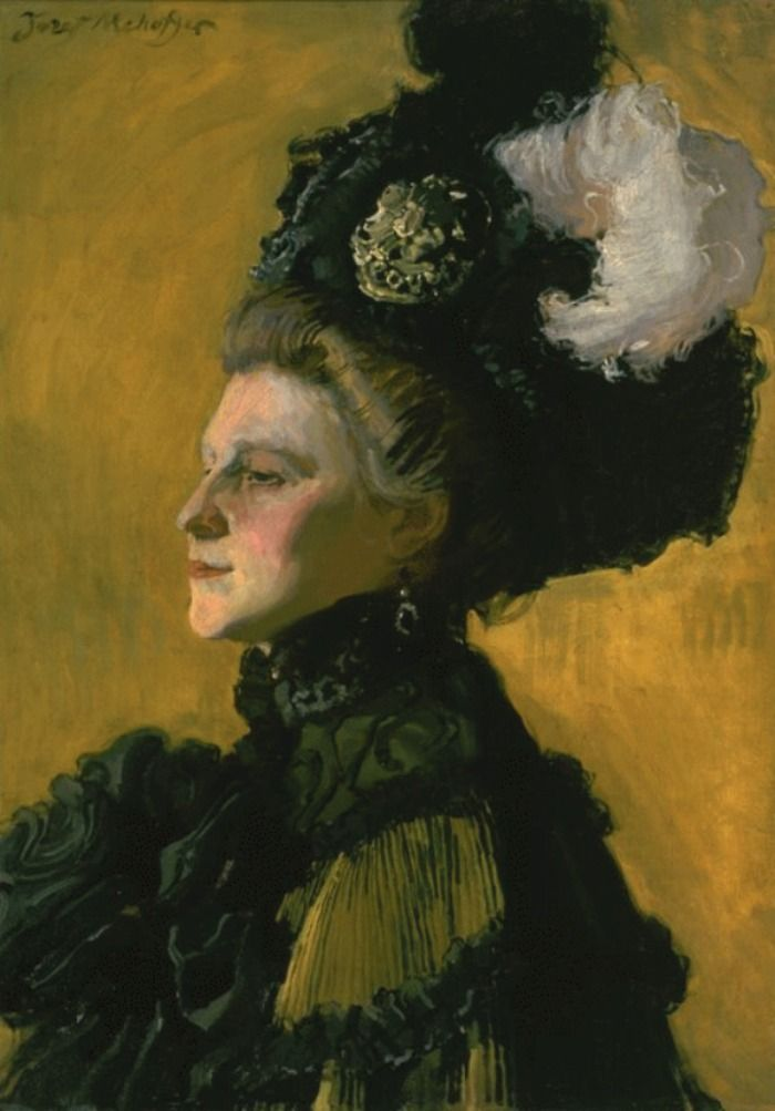 Józef Mehoffer (1869-1946). A Polish Symbolist Painter.  Portrait of the Artist's Wife on a Yellow Background 1907 Oil on canvas  Warsaw, National Museum