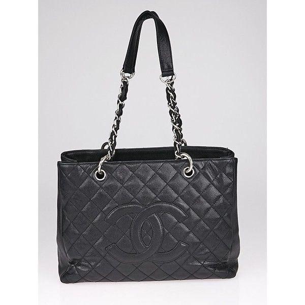 Pre-owned Chanel Black Quilted Caviar Leather Grand Shopping Tote Bag (49,235 THB) ❤ liked on Polyvore featuring bags, handbags, tote bags, leather tote purse, tote purses, leather totes, handbag tote and leather handbags