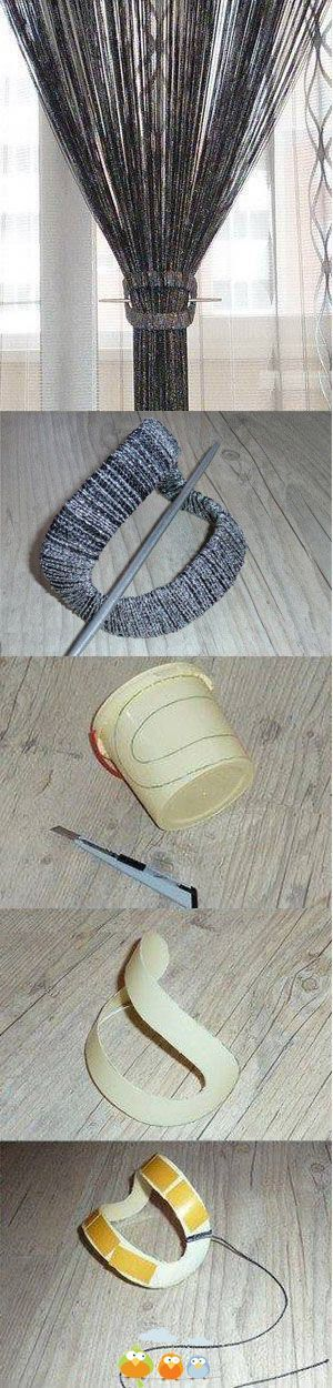 Great idea - Neat and elegant curtain tie-back from plastic cup and yarn, use chopstick (coloured to match) to secure curtain.: