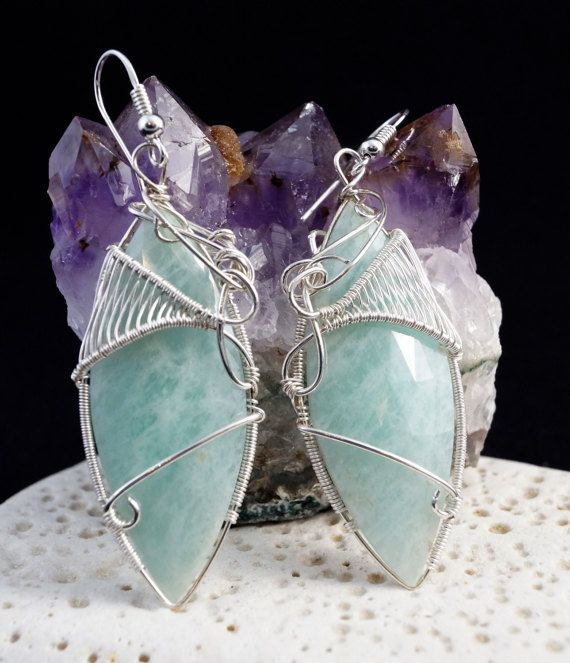 Sterling Silver earrings with Amazonite / wire by AnnaPdesign