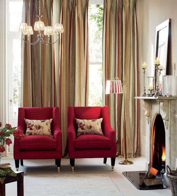 Just Love The 2 Red Chairs Playing Off Curtains