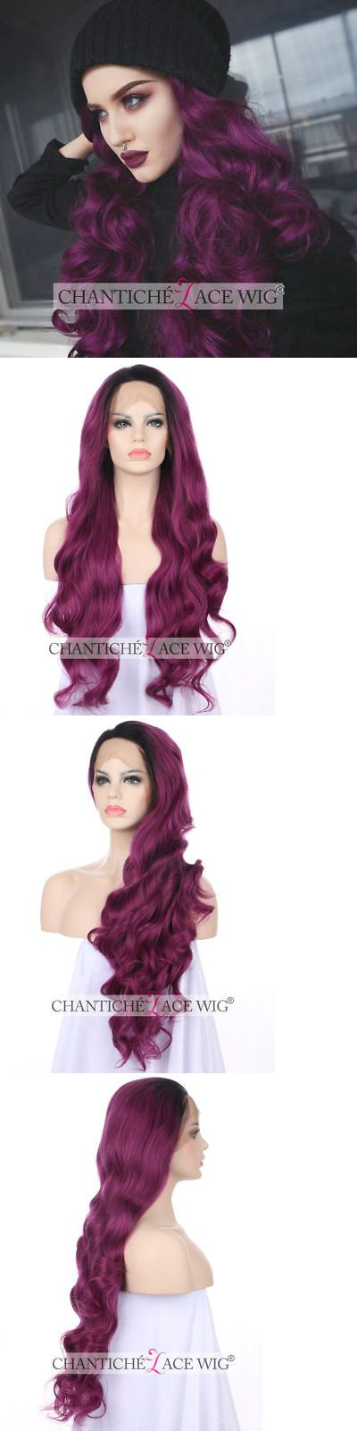 Wigs and Hairpieces: Long Wavy Purple Wig Fashion Lace Front Synthetic Hair Wigs For Women Heat Good -> BUY IT NOW ONLY: $42.99 on eBay!