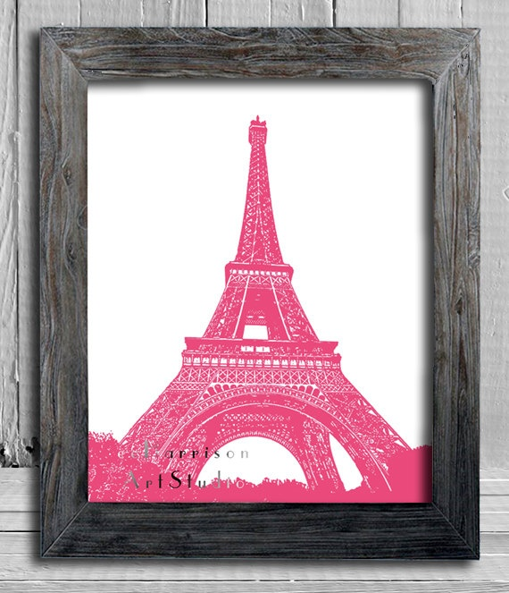 Eiffel tower art print paris decor french flea market style pretty in pink bedroom decor - Eiffel tower decor for bedroom ...