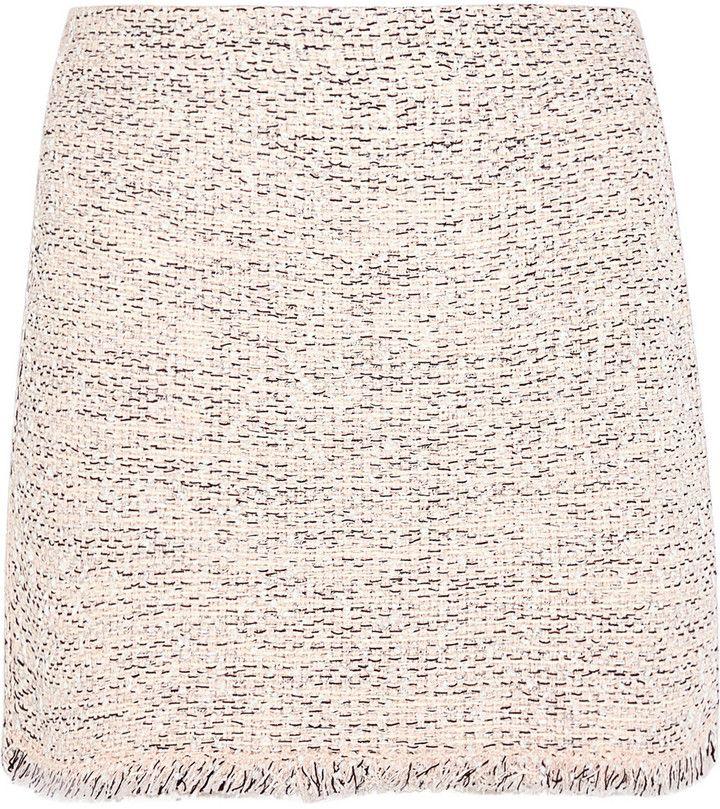 Balenciaga Frayed Tweed Mini Skirt
