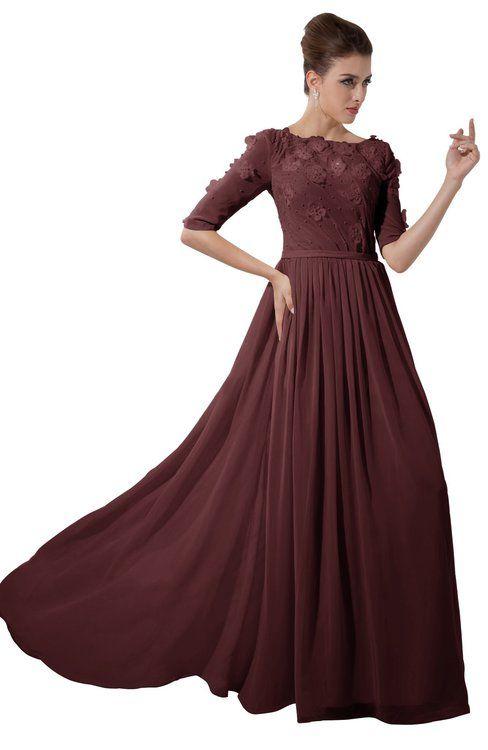 7d1f626f12 Burgundy Casual A-line Sabrina Elbow Length Sleeve Backless Beaded Bridesmaid  Dresses