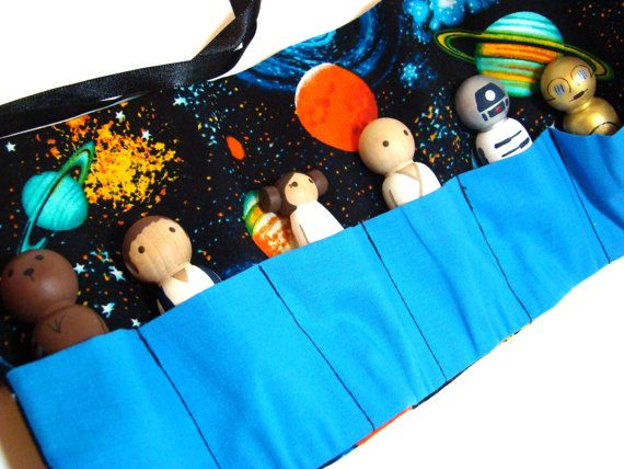 Outer Space RollUp Case with Star Wars Wood Peg Play Set by Pegged,