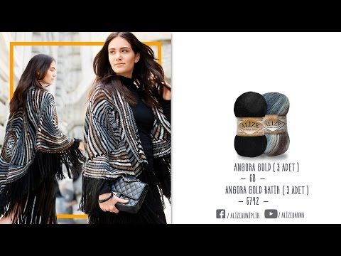 Alize ile güzel bir şal-panço modeli - a beatiful shawl-pancho model by alize - YouTube