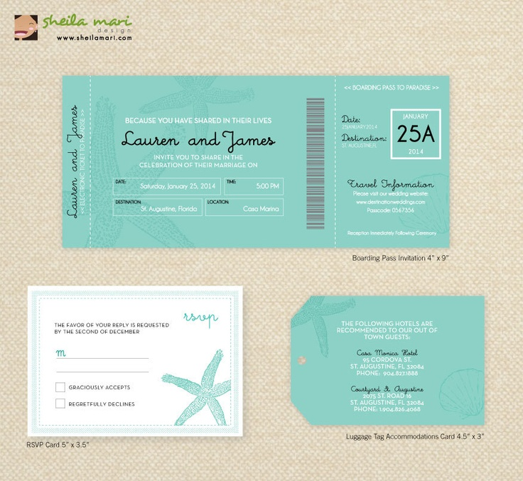 destination wedding invitation rsvp date%0A DIY Beach and Starfish Destination Wedding Invitation Boarding Pass  RSVP  Card  Luggage Tag Card