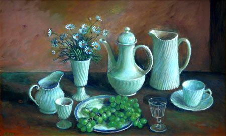 Margaret Olley, Untitled (still life with cornflowers and grapes)