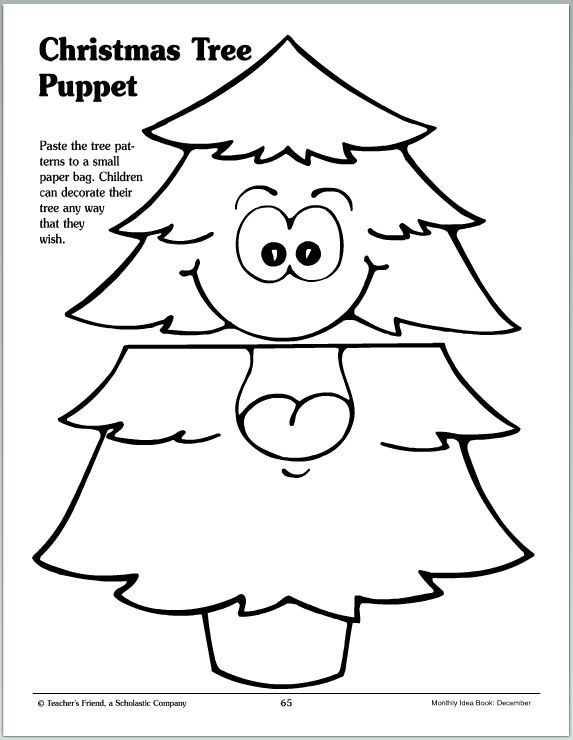 With just a small paper bag your little one can decorate their own Christmas tree puppet any way they wish!
