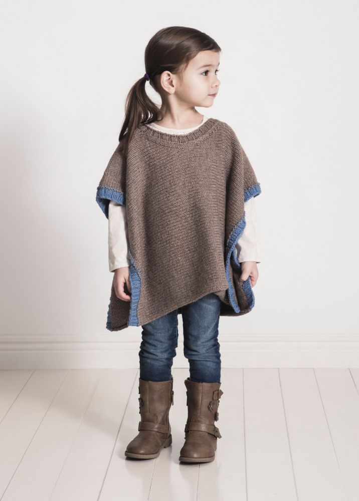 Spud & Chloe Girl's Puddle Jumper Poncho Knitting Pattern. Easy knitting project!