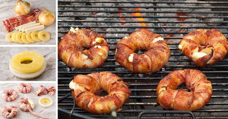 Exotická slaninová kolečka se sýrem a ananasem na gril
