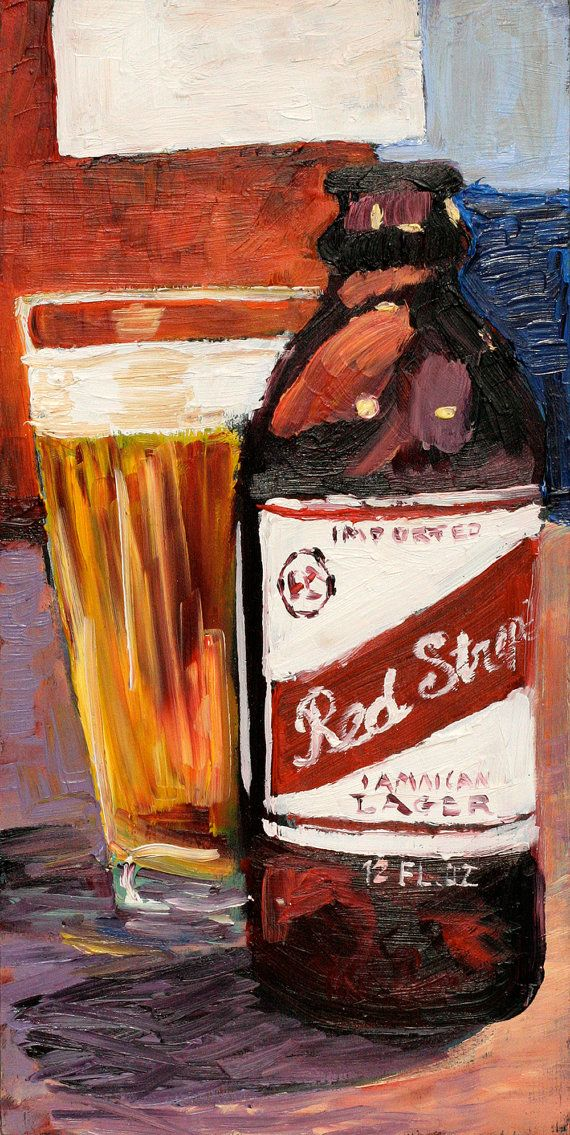 Beer Art Print of Red Stripe Jamaican Style by RealArtIsBetter, $35.00