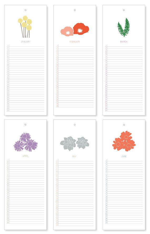 Botanische eeuwigdurende kalender van lauramacchia op Etsy