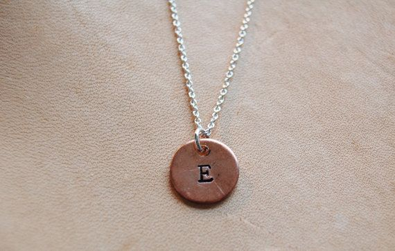 Sterling silver necklace with copper disc with by AasJewelry