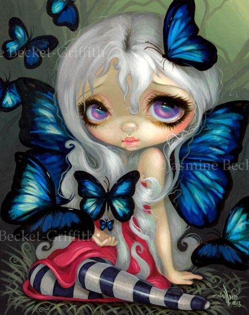Butterfly Fairies I: Blue Morpho - Strangeling: The Art of Jasmine Becket-Griffith