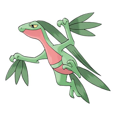 Grovyle - 253 - Its strongly developed thigh muscles give it astounding agility and jumping performance.  It leaps from tree branch to tree branch quite swiftly. It shows astounding agility.