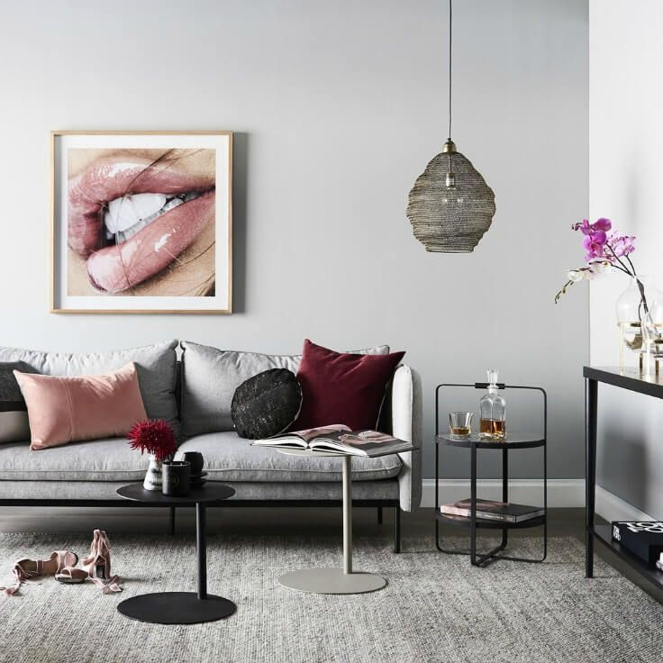 Nathan And Jac Grey And Maroon Living Room With Blush Cushions And