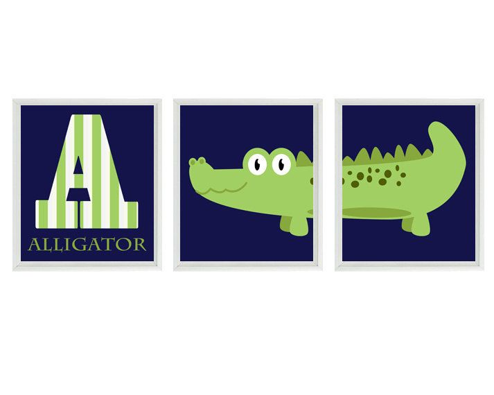 "Alligator Nursery Wall Art Print Set (3) 8x10 - Letter ""A"" Navy Blue Green Gator Decor - Children Kid Baby Boy Room - Home Decor. $42.00, via Etsy."
