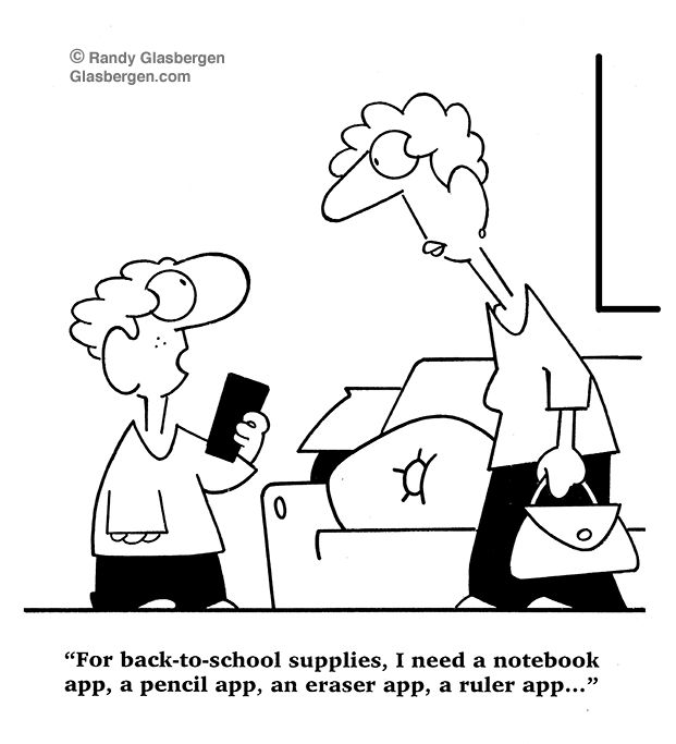 For back-to-school supplies, I need a notebook app, a pencil app, an eraser app, a ruler app...