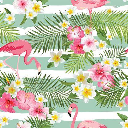 Flamingo fundo. Flores tropicais plano de fundo. Vintage padrão perfeito - ilustração de arte em vetor