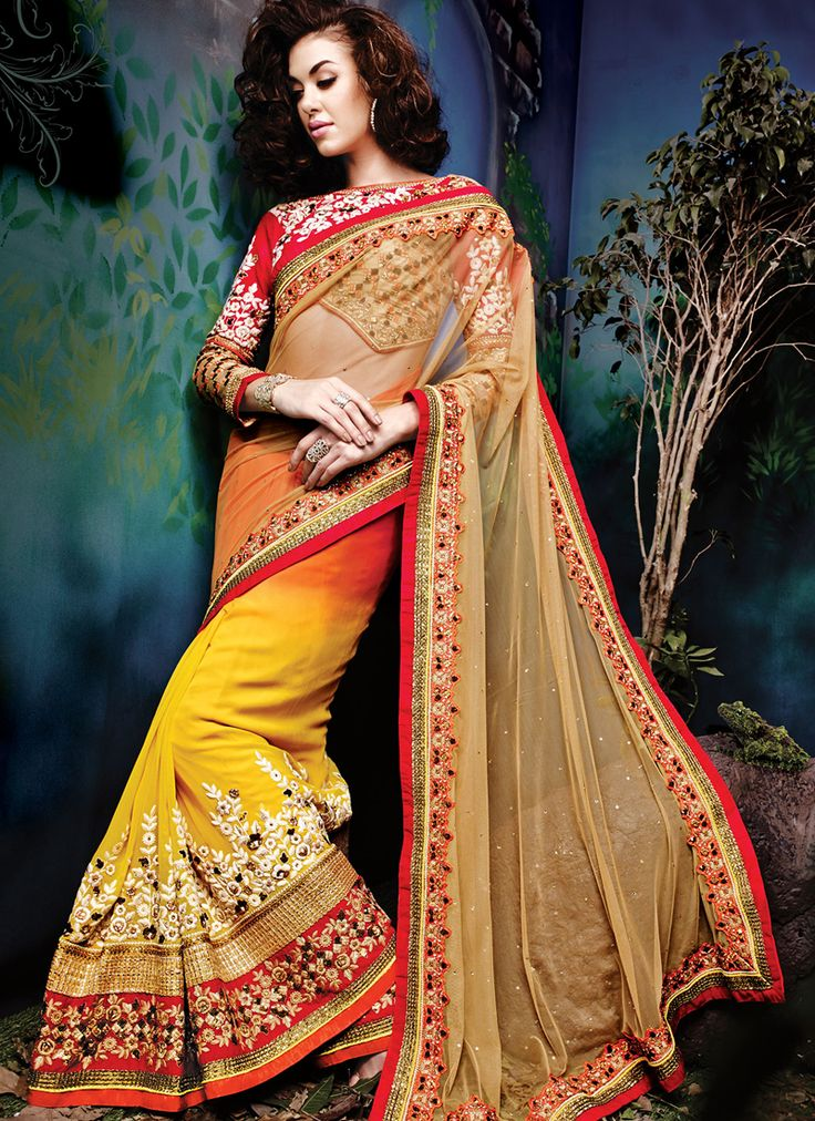 Yellow Wedding Wear Lehenga Style Sarees Collection  Grab full catalog online @ http://www.suratwholesaleshop.com/5008-Glorious-Yellow-Georgette-Half-N-Half-Wedding-Wear-Saree?view=catalog&page=2   #wholesalelehengas #lehengas #bulklehengas #cheaplehengas #heavyworklehengas #bridallehengas #suratlehengas #onlinelehengasshopping