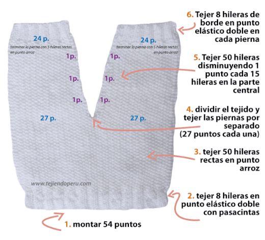 Pantalón para bebé en punto arroz - Tejiendo Perú...