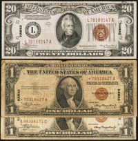Fr. 2300 $1 1935A Hawaii Silver Certificate. Fine; Fr. 2300 $1 1935A Hawaii Silver Certificate Star. Very Good-Fine;...