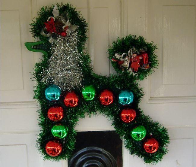 poodle christmas door wreath