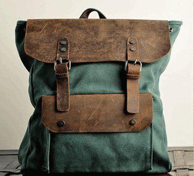 Backpack/ vintage backpack/messenger bag/ art retro canvas bag/leather