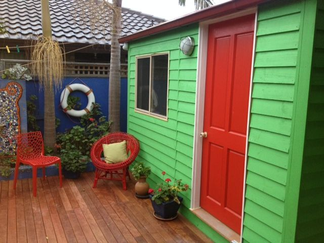 Funky home studio with a beach shack vibe!  Studio from Aarons Outdoor Living