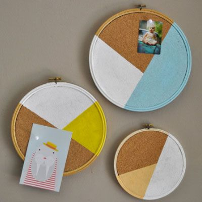 Embroidery Hoops + Cork = Organization Fabulousness via Country Living