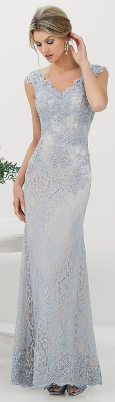 Charming Lace V-neck Neckline Floor-length Sheath Mother Of The Bride Dress http://bellanblue.com