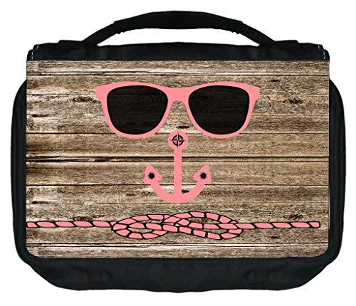 Hipster Beach Face on Coral Wood Print TM Small Travel Sized Hanging Cosmetic/Toiletry Case with 3 Compartments and Detachable Hanger-Made in the U.S.A. * Want additional info? Click on the image. #MakeupBrushHolder