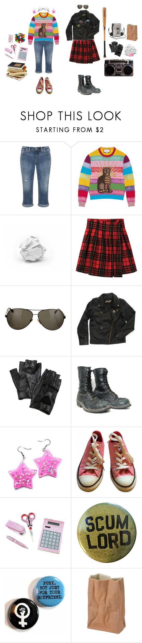 """""""80's High School Flick BFFs"""" by queenstormrider ❤ liked on Polyvore featuring Silver Jeans Co., Gucci, Mizuno, Limi Feu, Tom Ford, Børn, Carolina Amato, Converse, Rosenthal and vintage"""