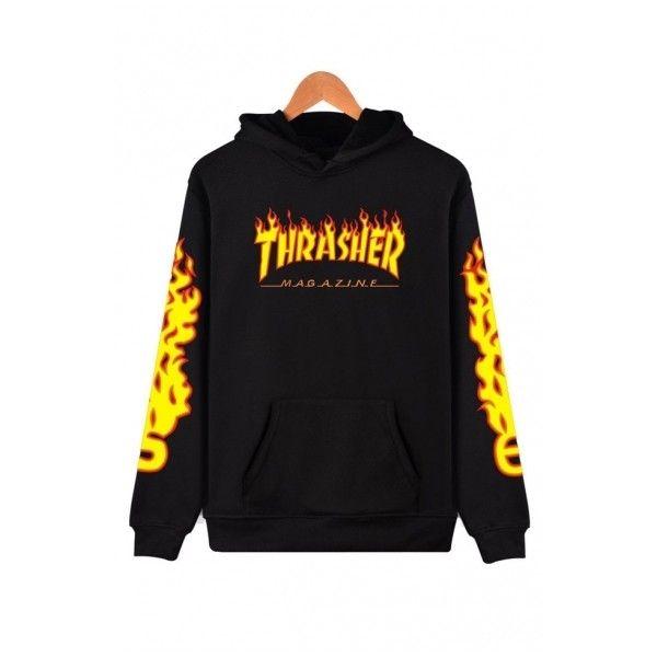 Unisex Hooded THRASHER Printed Color Block Long Sleeve Hoodie... (22 JOD) ❤ liked on Polyvore featuring tops, hoodies, sweaters, sweatshirts, shirts, hooded sweatshirt, hoodie shirt, long sleeve tops, long hooded sweatshirt and hooded pullover