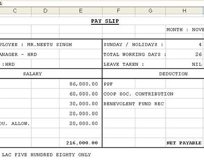 Employee Salary Slip Format Download payment template excel format