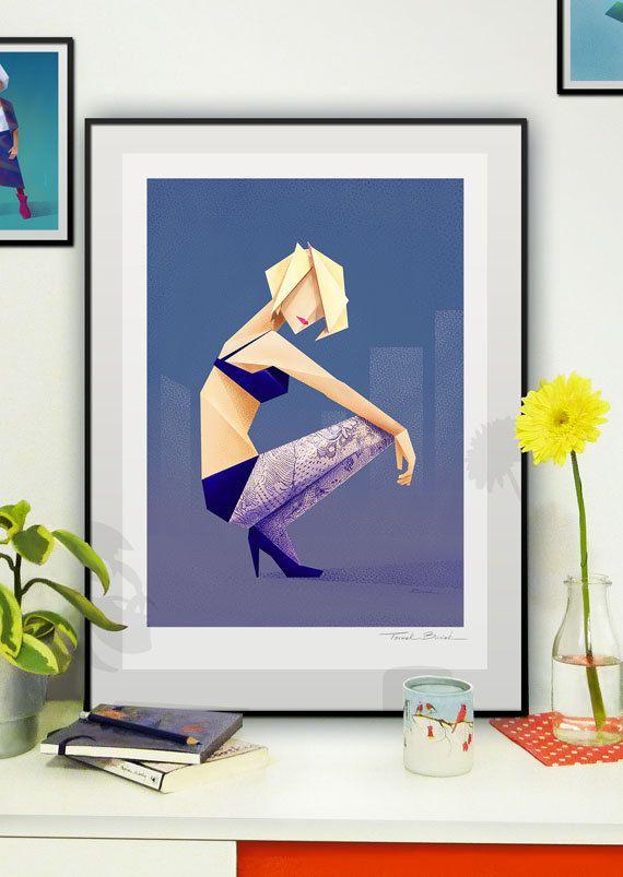 Woman 2 - llustration art giclée print signed by the artist. A2 poster. Tomek Biniek. by TomekBiniek on Etsy