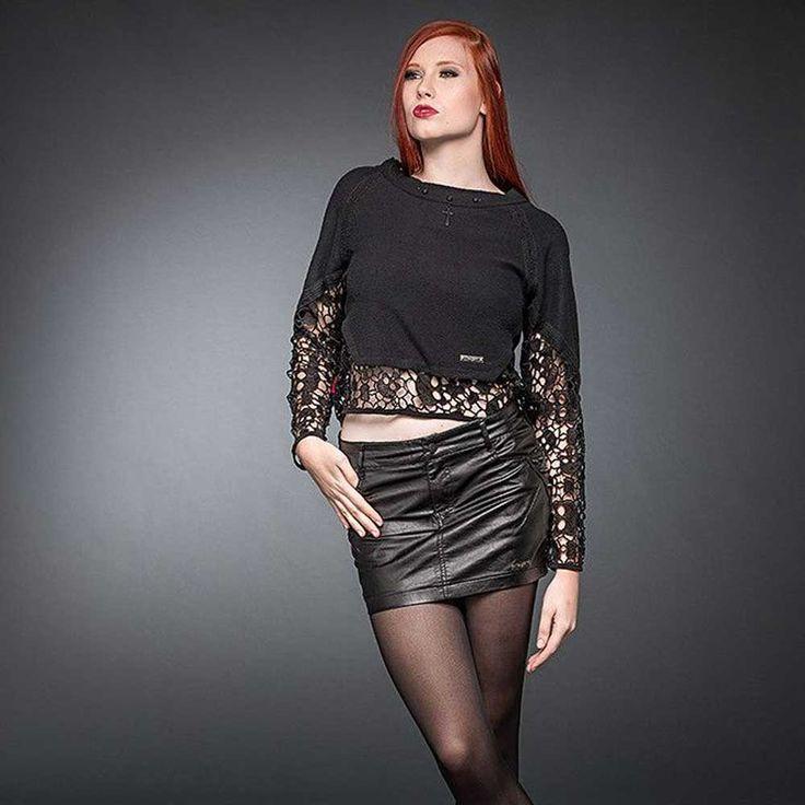 Queen of Darkness Dames pullover top met brokaat en kanten detail zwar