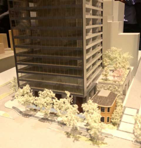 Model of new tower and restored Leslie House